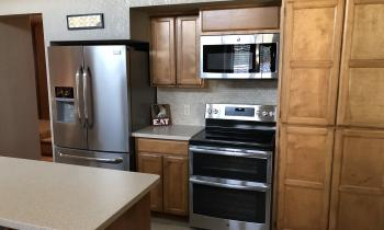 Fridge and stove at Lakeview house